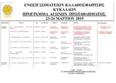 Πρόγραμμα αγώνων πρωταθλήματος Κυκλάδων 23-24 Μαρτίου 2019.